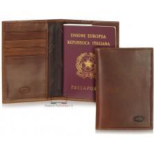 Portafoglio Passaporto con 4cc pelle Toscana al Vegetale Marrone