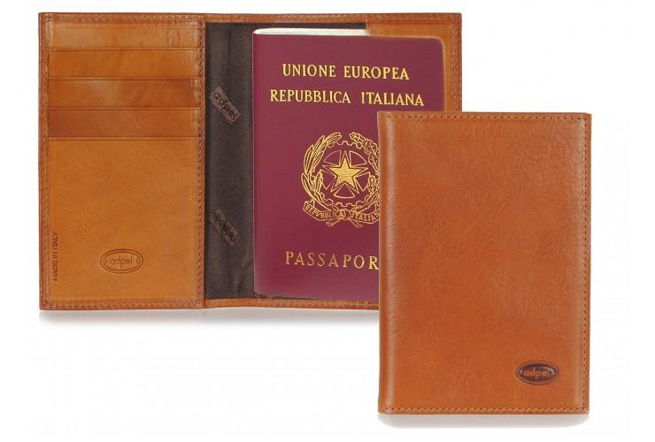 Portafoglio Passaporto con 4cc pelle Toscana al Vegetale Cognac