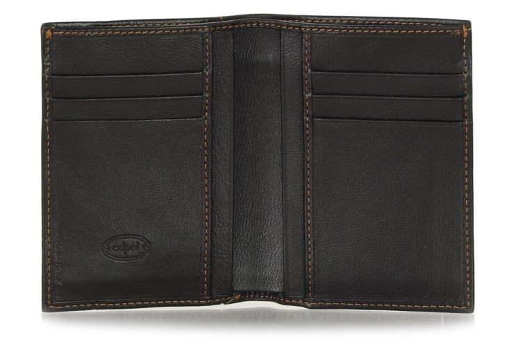 Men's breast leather wallet cards ID Brown