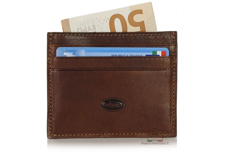 Porta credit card piatto 6cc da taschino in Vacchetta Marrone