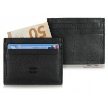 Porta credit card piatto 6cc da taschino in Vacchetta Nero