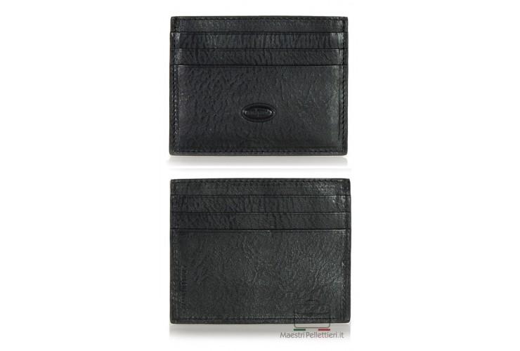 Card Sleeve slim wallet, Vegetable tanned leather Black