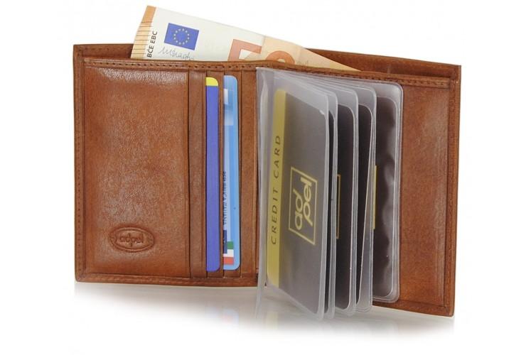 Portafoglio portacard da taschino in pelle 8+12cc Castagno