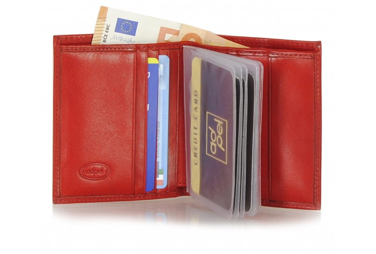 Men's small wallet full-leather multiple cards Red