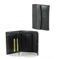 Damen Portmonee mit klappe 3 kk und münzfach, aus Leder/Technylon Schwarz