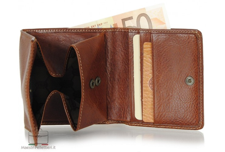 Small mini wallet with box coinpocket and 3 cards - Italian vegetable leather Cognac