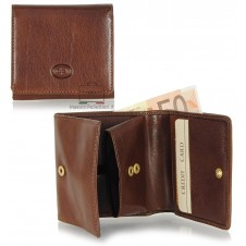 Small mini wallet with box coinpocket and 3 cards - Italian vegetable leather Brown
