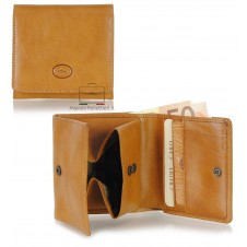 Small mini wallet with box coinpocket and 3 cards - Italian vegetable leather Honey