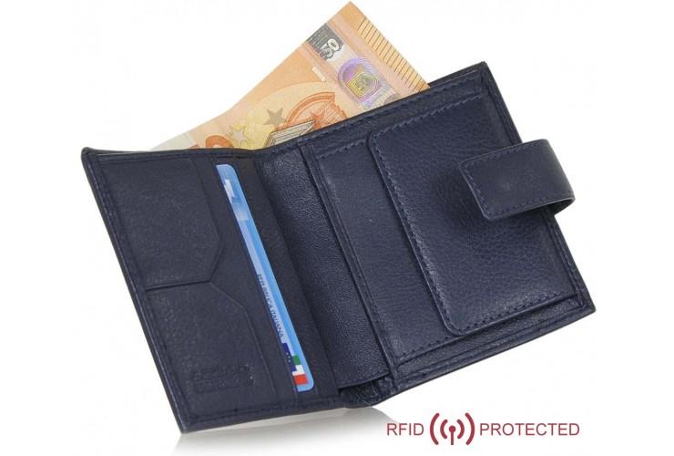 Portafoglio Anti RFID piccolo pelle 3cc portamonete linguetta Blu