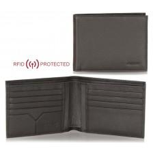 Portafoglio Anti RFID uomo pelle 8cc documenti identità Marrone