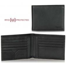 Portafoglio Anti RFID uomo pelle 8cc documenti identità Nero