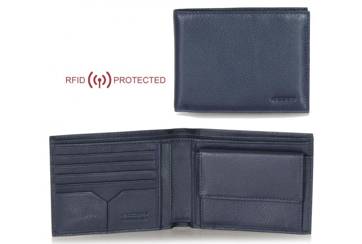Portafoglio Anti RFID uomo pelle con portamonete 5c/c doc.identità Blu