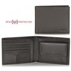 Portafoglio Anti RFID uomo pelle con portamonete 5c/c doc.identità Marrone