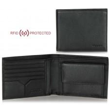 Portafoglio Anti RFID uomo pelle con portamonete 5c/c doc.identità Nero