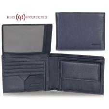 Portafoglio Anti RFID uomo pelle con portamonete 8c/c ribaltina Blu