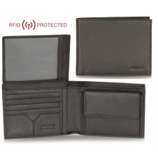 Portafoglio Anti RFID uomo pelle con portamonete 8c/c ribaltina Marrone