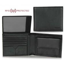 Portafoglio Anti RFID uomo pelle con portamonete 8c/c ribaltina Nero