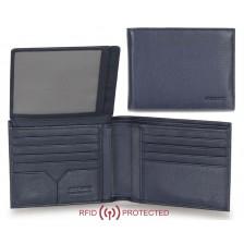 Portafoglio Anti RFID uomo in pelle morbida 12cc aletta documenti Blu