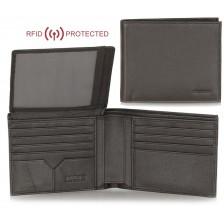 Portafoglio Anti RFID uomo in pelle morbida 12cc aletta documenti Marrone