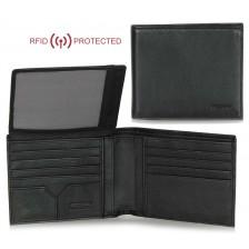 Portafoglio Anti RFID uomo in pelle morbida 12cc aletta documenti Nero
