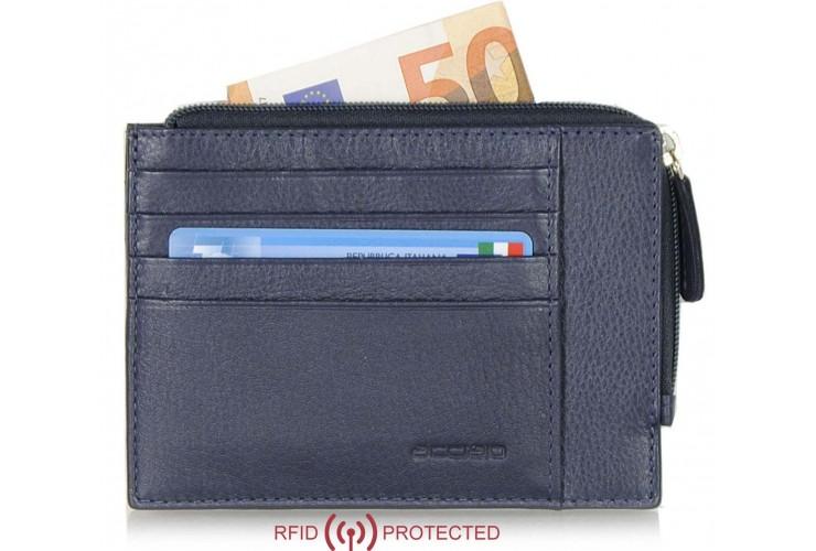 Ausweisetui schlanke RFID portemonnaie mit reißverschlussfach aus leder Blau