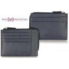 Portafoglio Anti RFID piatto uomo con zip cerniera e 4 carte-credito in pelle Blu