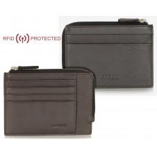 Slim RFID wallet for men with zip 4 card slots in leather Brown