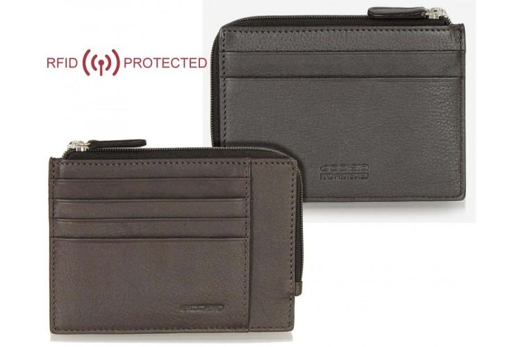 Ausweisetui schlanke RFID portemonnaie mit reißverschlussfach aus leder Braun