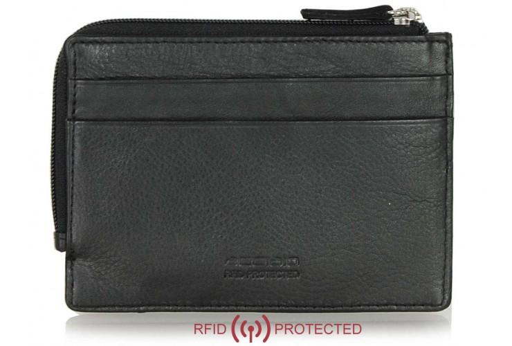 Ausweisetui schlanke RFID portemonnaie mit reißverschlussfach aus leder Schwarz