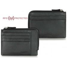 Portafoglio Anti RFID piatto uomo con zip cerniera e 4 carte-credito in pelle Nero