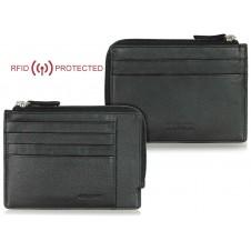 Slim RFID wallet for men with zip 4 card slots in leather Black