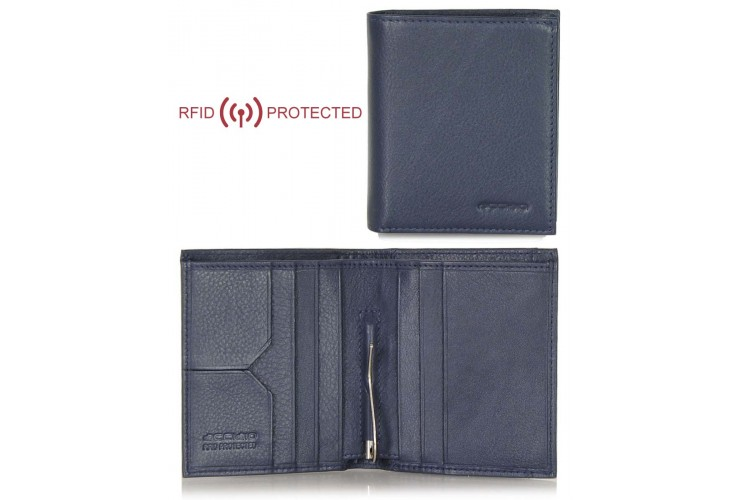 Portafoglio Anti RFID uomo clip gancio fermasoldi e portamonete pelle Blu