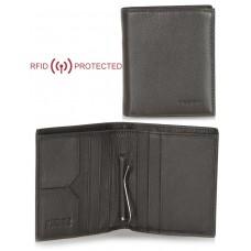 Portafoglio Anti RFID uomo clip gancio fermasoldi e portamonete pelle Marrone