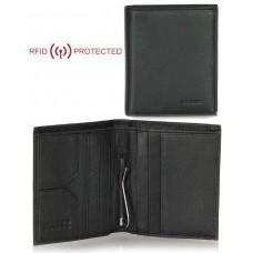 Portafoglio Anti RFID uomo clip gancio fermasoldi e portamonete pelle Nero