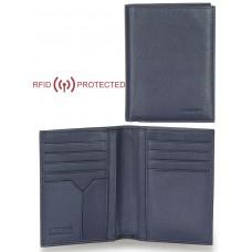Portafoglio Anti RFID verticale da taschino in pelle Blu