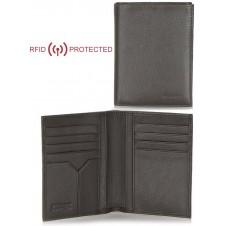Portafoglio Anti RFID verticale da taschino in pelle Marrone