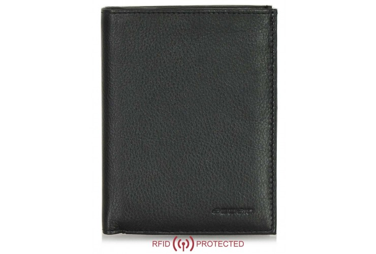 Portafoglio Anti RFID verticale da taschino in pelle Nero