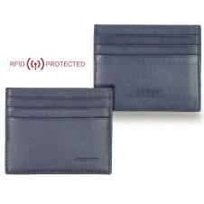 Porta credit card Anti RFID piatto 6cc da taschino in pelle Blu