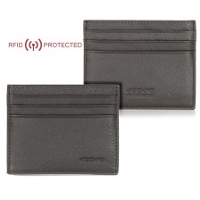 Porta credit card Anti RFID piatto 6cc da taschino in pelle Marrone