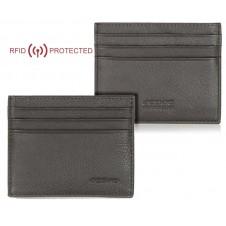 Porta credit card Anti RFID piatto 6cc da taschino in pelle Marrone