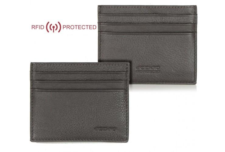Card Sleeve slim RFID wallet in leather Brown