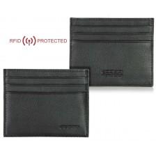 Kreditkartenetui RFID Kartenhülle kleine 6kk pflanzlich gegerbt leder Schwarz
