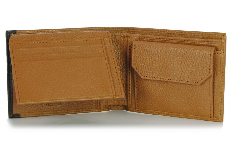 Portafoglio Anti RFID uomo pelle con portamonete 7c/c Cuoio/Marrone