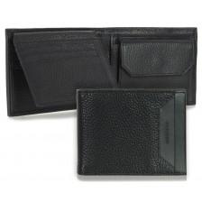 Portafoglio Anti RFID uomo pelle con portamonete 7c/c Nero