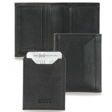 Portafoglio portacard da taschino in pelle 7c/c Nero