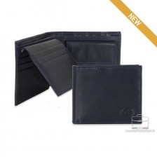 Portafoglio Anti RFID uomo pelle con portamonete 7c/c ribaltina Blu