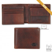 Portafoglio Anti RFID uomo pelle con portamonete 7c/c ribaltina Castagno