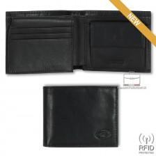 Portafoglio Anti RFID uomo pelle con portamonete 7c/c ribaltina Nero