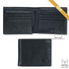 Portafoglio Anti RFID uomo pelle con 12c/c ribaltina Blu