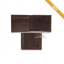Portafoglio Anti RFID uomo pelle con 12c/c ribaltina Castagno